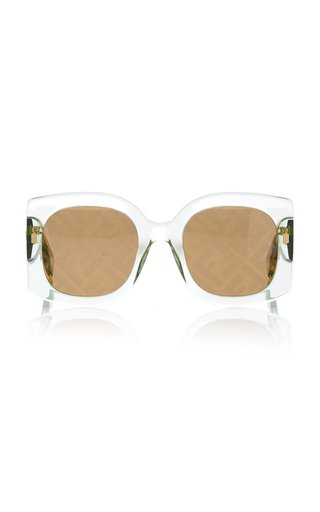 Logo-Lens Oversized Square-Frame Acetate Sunglasses