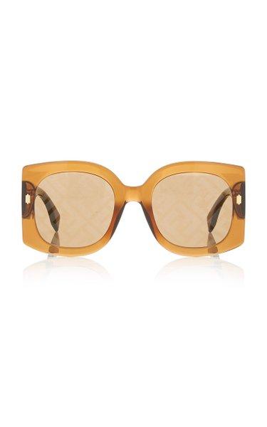 Logo-Lens Oversized Square-Frame Acetate Sunglasses