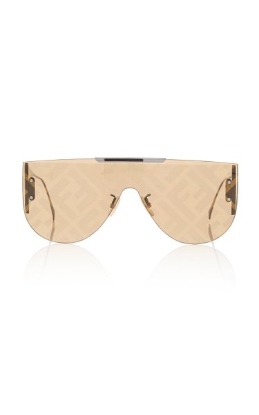 Logo-Lens D-Frame Metal Sunglasses