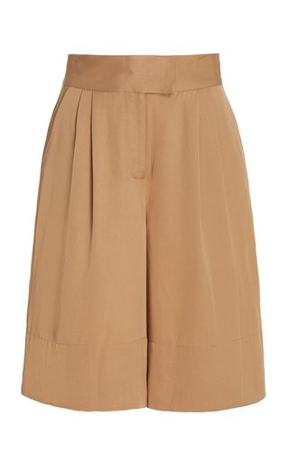 Ode Pleated Brushed Twill Knee-Length Shorts