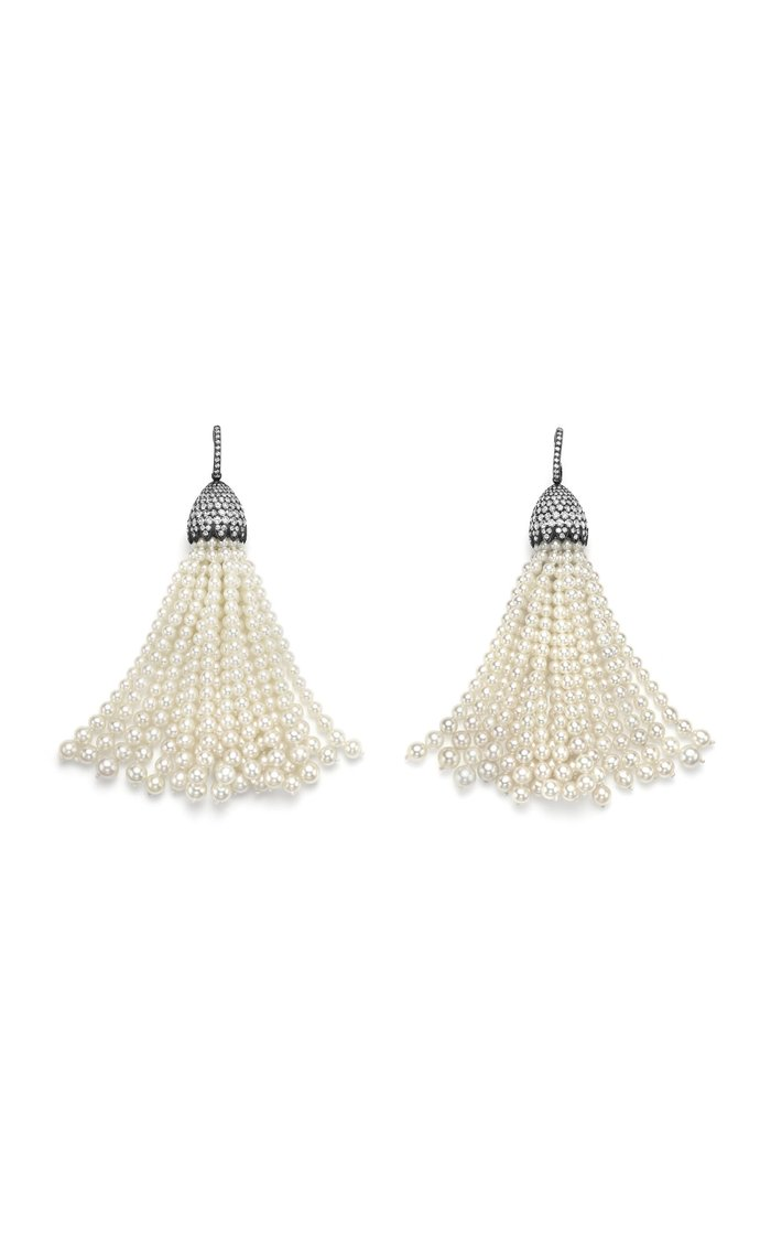 One of a Kind 18K Tarnished White Gold Pompom Earrings