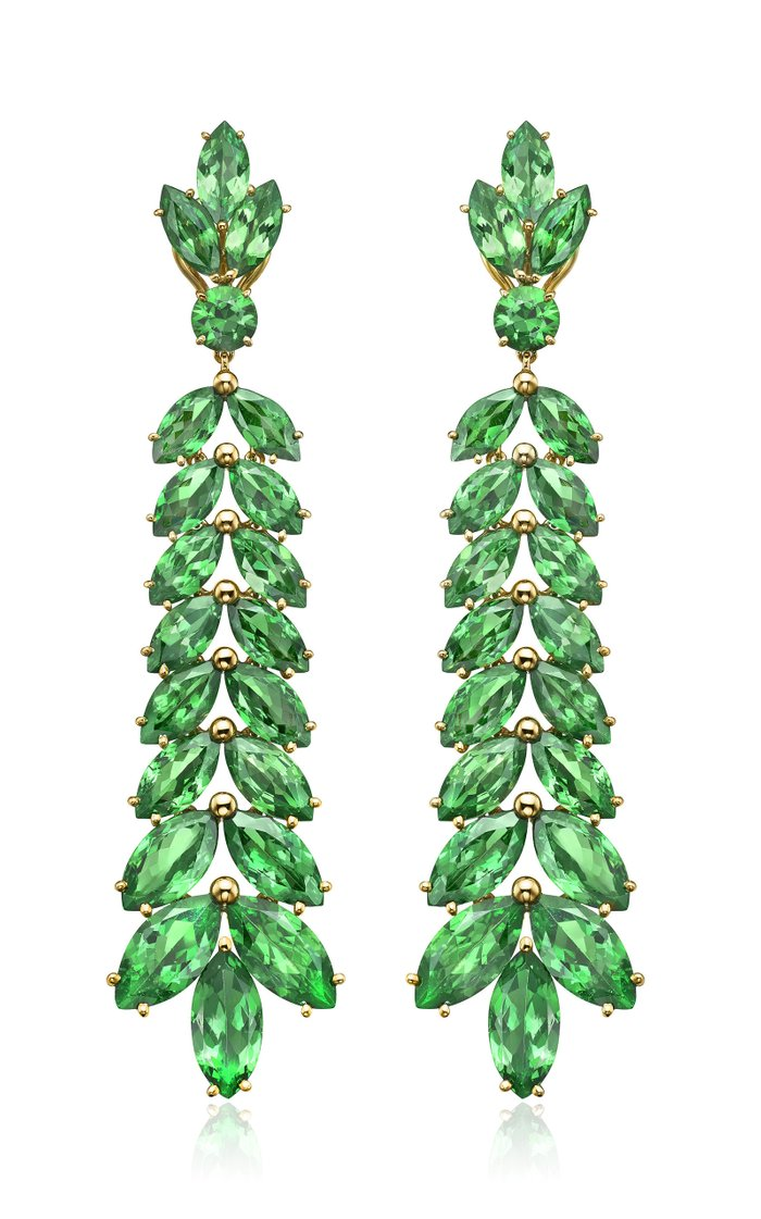 One of a Kind 18K Yellow Gold Green Chevron Earrings
