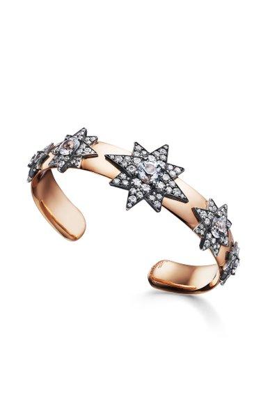 One of a Kind Silver & 18K Pink Gold 5 Star Spinel Bracelet