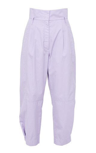 Sporty Power Pleated Twill Tapered Pants