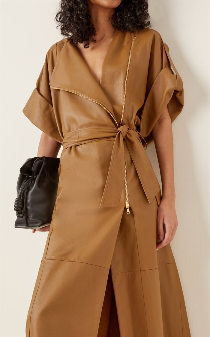 Exciting Coolness Belted Leather Coat