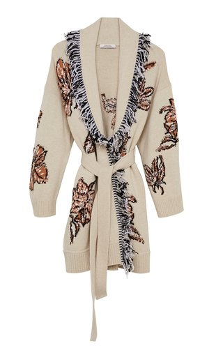 Floral Attraction Fringed Wool-Blend Cardigan