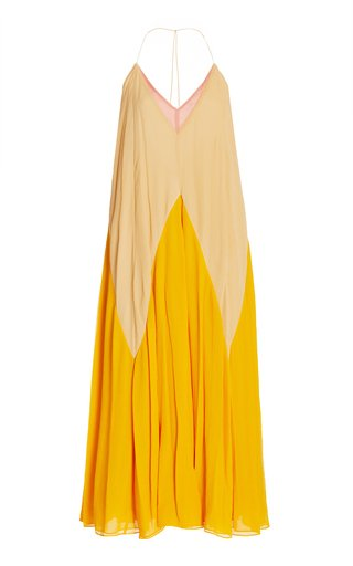 Summer Heat Colorblock Silk Maxi Halter Dress