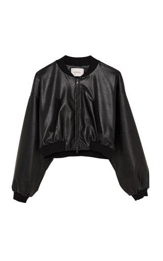 Sleek Performance Cropped Faux Leather Bomber Jacket