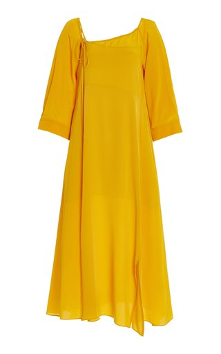 Fluid Volumes Convertible Silk Midi Dress