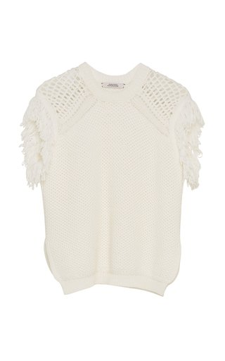 Chunky Mix Fringed Cotton-Blend Knit Top