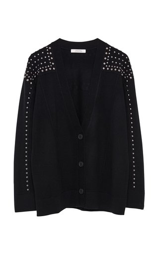 Surprising Match Studded Wool-Cashmere Cardigan