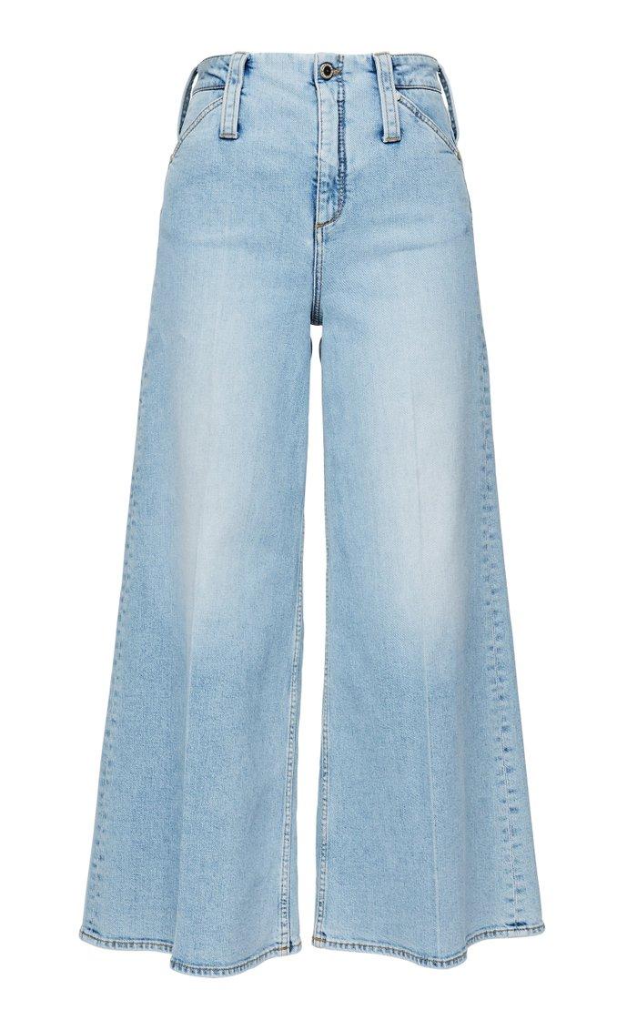 Denim Love Stretch High-Rise Cropped Wide-Leg Jeans