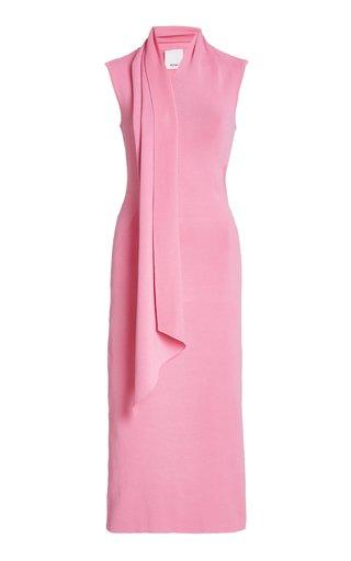 Aster Crepe Draped Midi Tie-Neck Dress