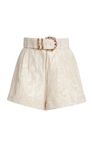 Clifton Belted Cotton-Blend Jacquard Shorts
