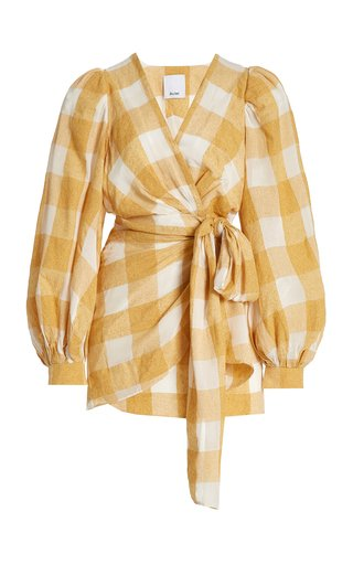 Sutherland Gingham-Check Mini Wrap Dress