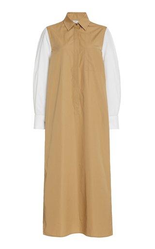 Avocado Collared Two-Tone Cotton Dress
