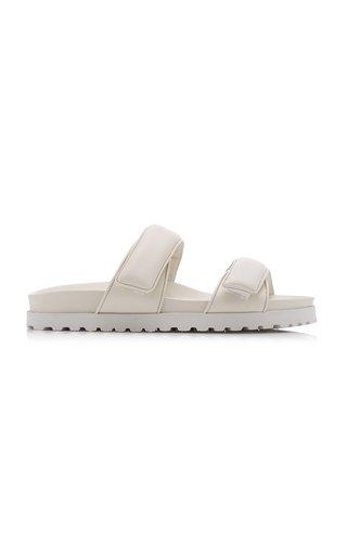 Padded Leather Platform Slide Sandals