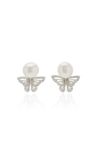 Butterfly 18K White Gold Vermeil Pearl Earrings