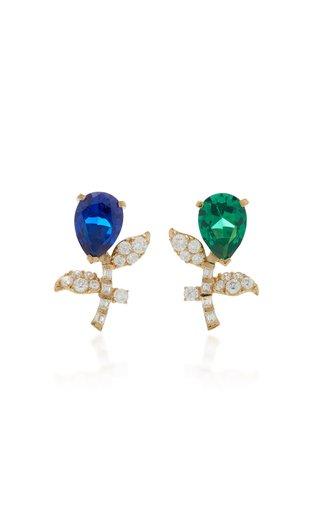Tulip 18K Yellow Gold Vermeil Emerald, Sapphire Earrings