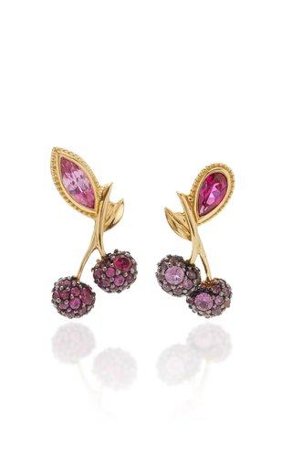 Cherry 18K Gold Vermeil Ruby, Sapphire Earrings