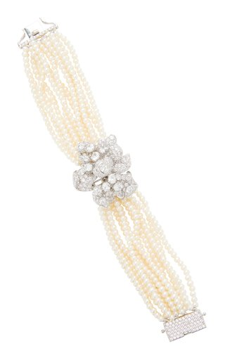 Bloomingdale 18K White Gold Vermeil Pearl, Diamond Bracelet