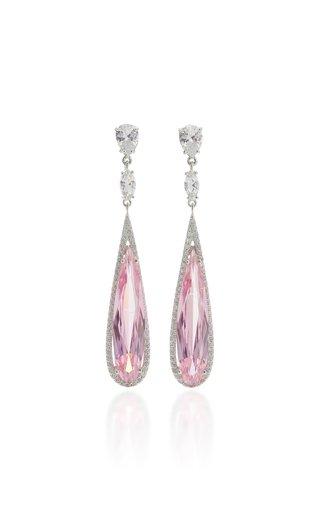 Shard 18K White Gold Vermeil Diamond, Sapphire Earrings