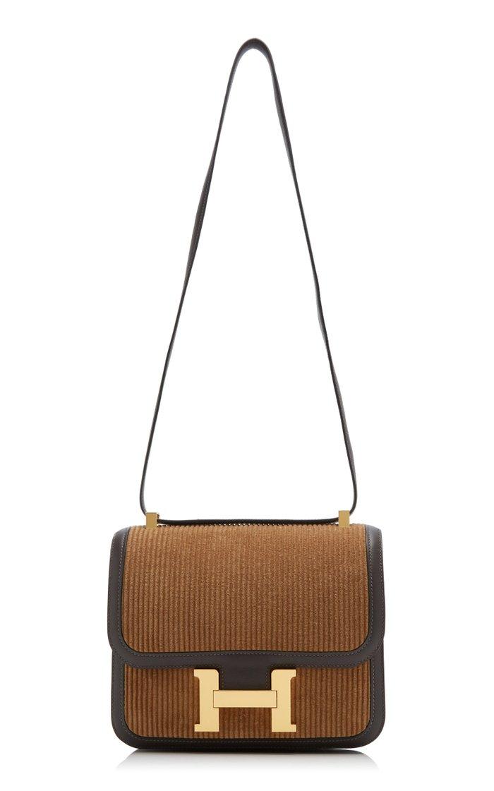 Hermès 23cm Brown Corduroy Constance Shoulder Bag