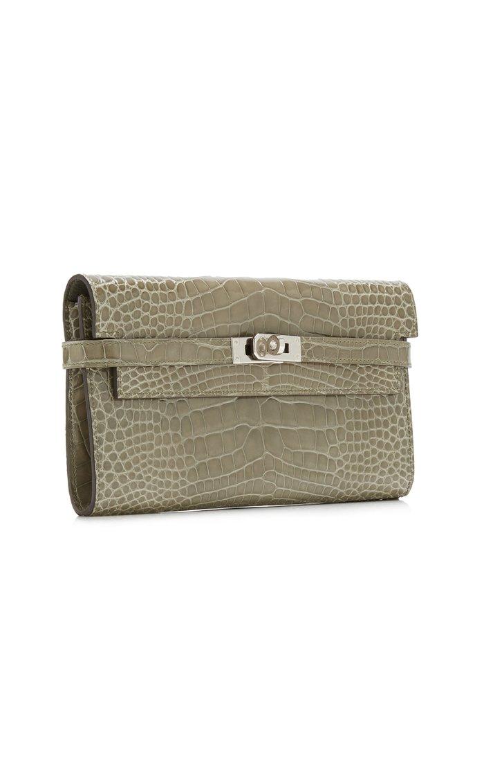 Hermès Gris Elephant Crocodile Kelly Wallet