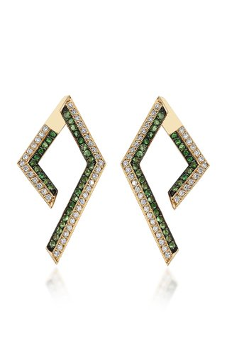 Dancing Leaves 14K Gold, Emerald and Diamond Earrings