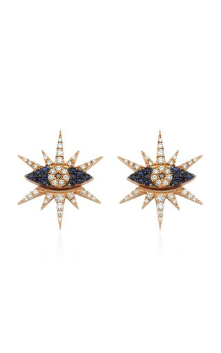 Shiny Eye 14K Yellow Gold Diamond, Sapphire Earrings