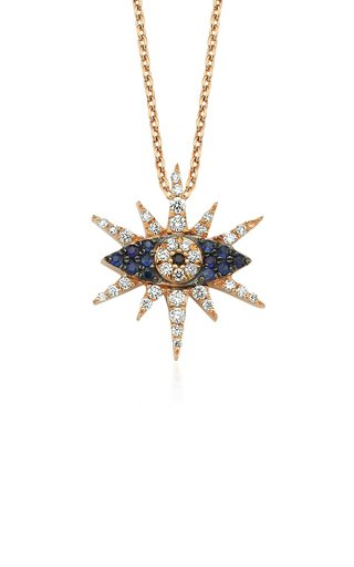 Shiny Eye 18K Yellow Gold Diamond, Sapphire Necklace
