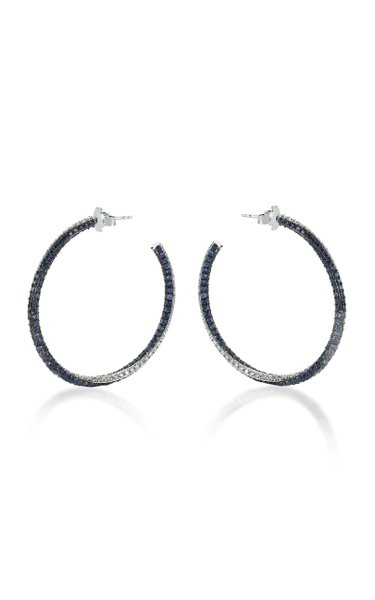 Blue Ivy 14K White Gold, Diamond and Blue Sapphire Earrings