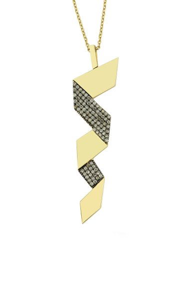Zig Zag 14K Gold and Diamond Necklace
