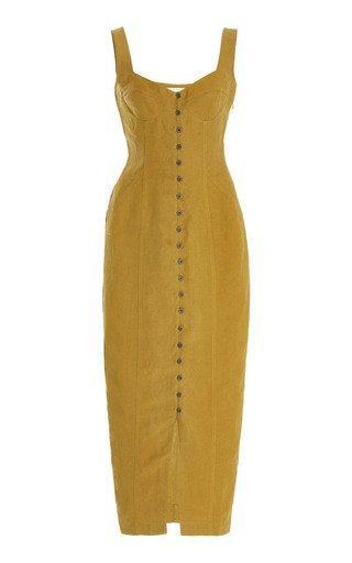 Angelica Tencel-Linen Button-Front Midi Dress