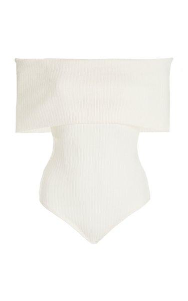 Lorraine Ribbed-Knit Off-The-Shoulder Bodysuit