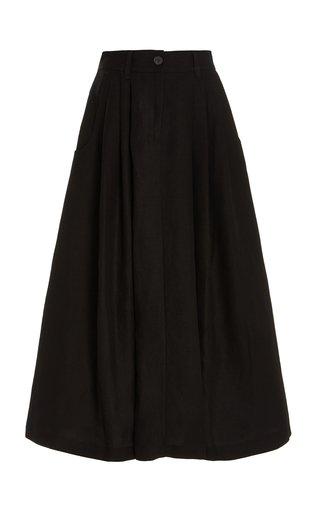 Tulay Pleated Tencel-Linen Maxi Skirt