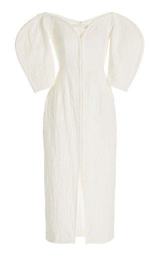 Leonara Off-The-Shoulder Organic Cotton-Linen Midi Dress