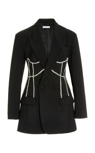 Crystal-Corseted Crepe Mini Blazer Dress