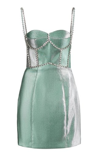 Crystal-Trimmed Twill Bustier Dress