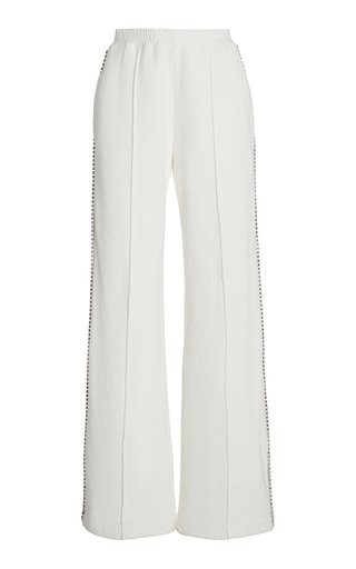 Crystal-Trimmed Cotton Track Pant