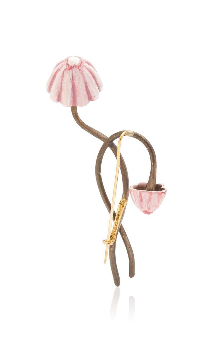 Small Rose Mushroom Brooch