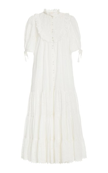 Broderie Anglaise Cotton-Blend Midi Dress