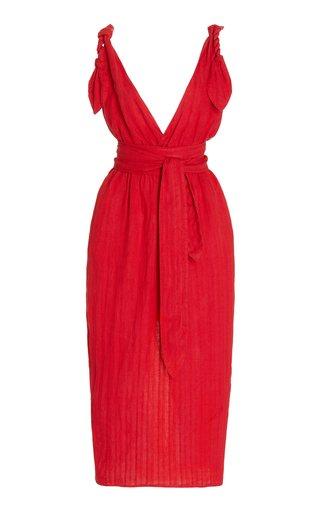 Calypso Belted Linen-Blend Midi Dress