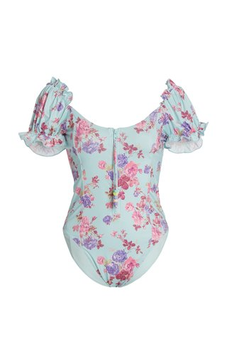 Fantasia Puff-Sleeve Floral One-Piece Swimsuit