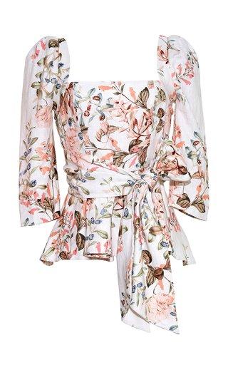 Lauren Floral-Printed Linen Top