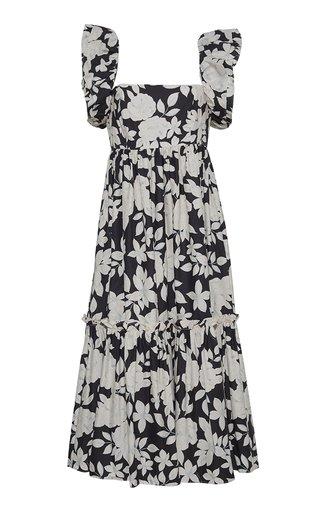 Darby Smocked Cotton-Poplin Midi Dress