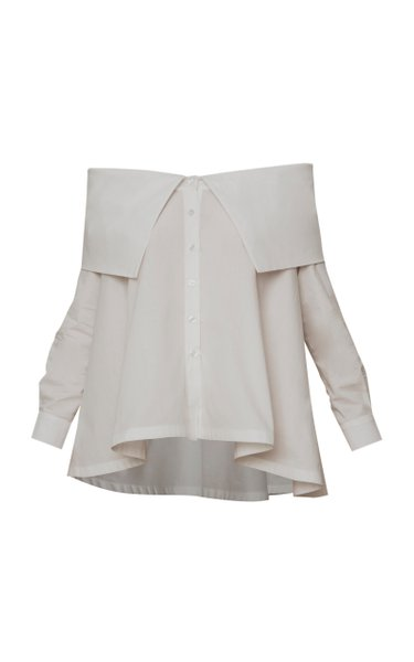 Clavel Off-The-Shoulder Button-Up Blouse