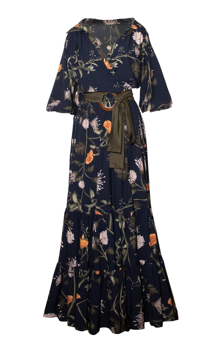 Azucena Belted Crepe Maxi Dress
