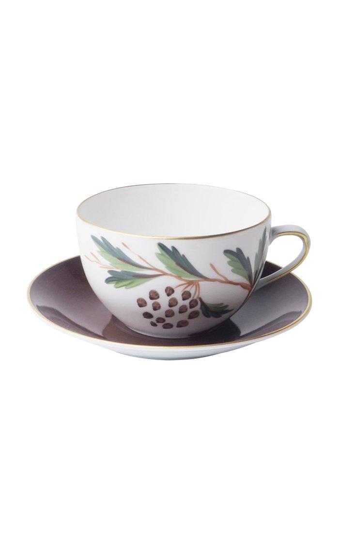 Jardins De Shalimar - Set of 2 Round Tea Cups & Saucers