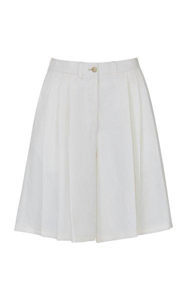 The Victoria Bermuda Shorts Linen Silk White
